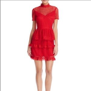 AQUA Short Sleeve Ruffled Dot Lace Dress In Red